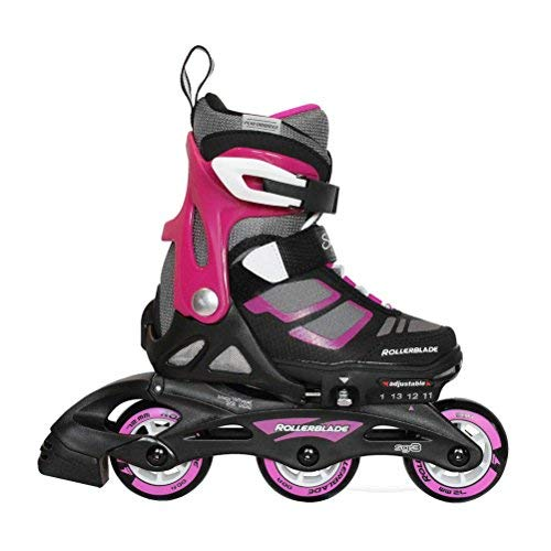 Rollerblade Spitfire XT Girl's Adjustable Fitness Inline Skate, Black and Purple, Junior, Youth Performance Inline Skates, Youth, Junior 11 to 1