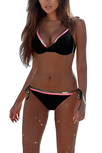 Yknktstc Womens 2 Piece Bikini Swimsuit Halter Bandeau Bathing Suits US 0/2 Black (2 Piece Bikini Swimsuit)