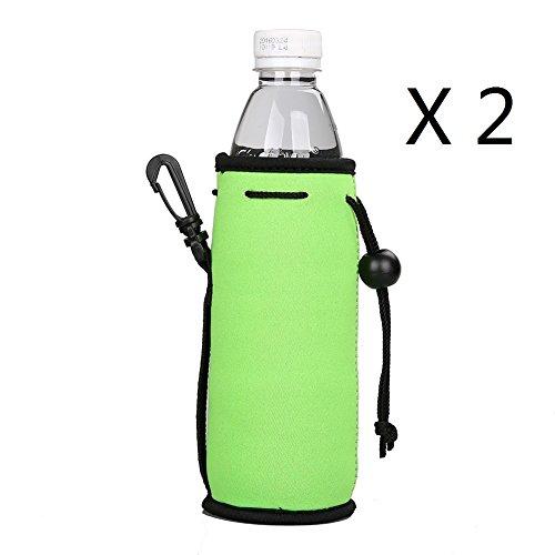 E - Living 500ML (16.9 OZ) Collapsible Neoprene Water Bottle Drawstring Cooler / Coolie / Cover / Insulator / Holder / Huggie / Sleeve - 2 Pack (13 Colors) (Lime Green)