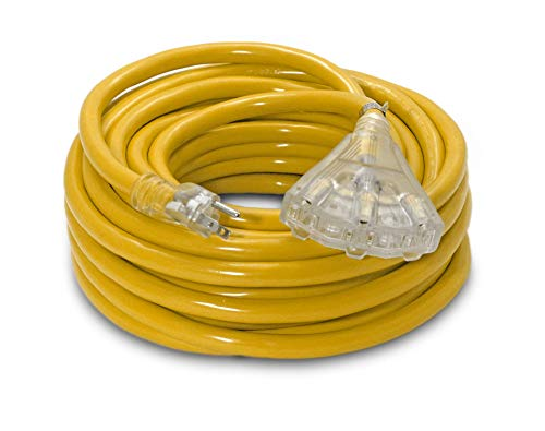 50-ft 10/3 Heavy Duty 3-Outlet Lighted SJTW Indoor/Outdoor UL Listed Extension Cord by Watt's Wire - Yellow 50' 10-Gauge Grounded 15-Amp Three-Prong Power-Cord (50 foot 10-Awg)