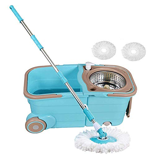 - Spin Mop Bucket System - Deluxe Stainless Steel 360 Spin Wringer Dry Basket & Telescopic Handle Pole, Hurricane Spinning Mop Bucket Kit, 2 Microfiber Heads Replacement
