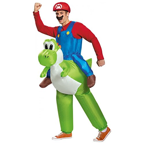Mario Riding Yoshi Adult Men's Inflatable Costume Nintendo Super Mario Brothers (Super Mario Costume For Men)