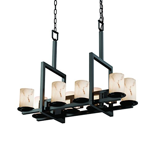 Justice Design Group FAL-8718-10-MBLK LumenAria Collection Dakota 8-Up & 3-Downlight Bridge Chandelier