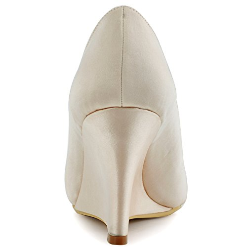 Shoes Heel Party Peep Elegantpark Evening Champagne High Toe Satin Pleated Wedding Wedges EP2009 Women 7qxwpTg
