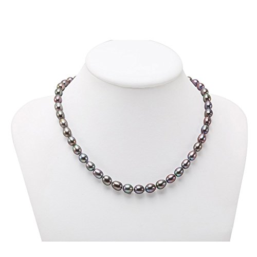 JYX Classic Oval Black Freshwater Pearl Necklace 18'