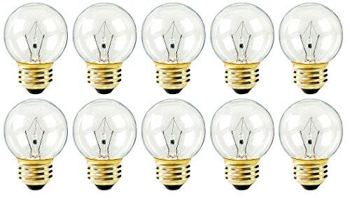 Pack of 10 25 Watt Clear G16 Decorative E26 Medium Base 120Volt Globe Shape Light Bulbs