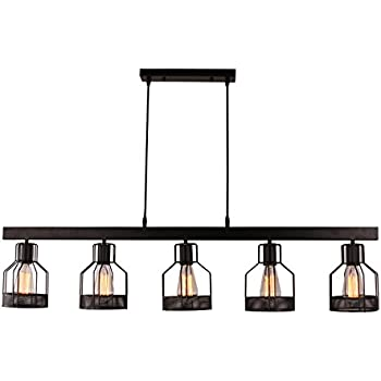 Unitary Brand Antique Black Metal Long Kitchen Island Light With - Long hanging light fixtures