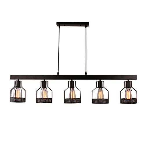 Unitary Brand Antique Black Metal Long Kitchen Island Light with 5 E26 Bulb Sockets 200W Painted Finish ()