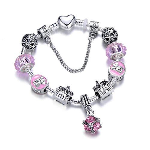 Ink White Charm Bracelets & Bangles Minnie Pink Bow-Knot Pendant Bracelet DIY Handmade,Antique Silver Plated,20Cm