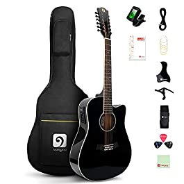 Vangoa 12 String Guitar, Acoustic-electric Cutaway Dreadnought Guitar Bundle, Spruce Top, Bone Nut, Black, Gloss(VA20CE…
