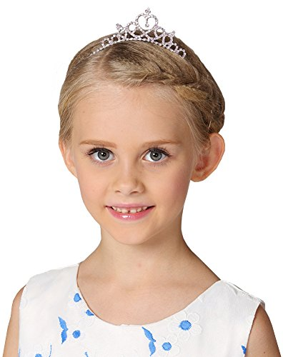 Girls Flower Heart-Shape Crystal Tiara Crown ,Silver