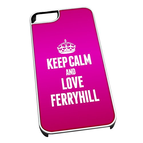 Bianco cover per iPhone 5/5S 0258 Pink Keep Calm and Love Ferryhill