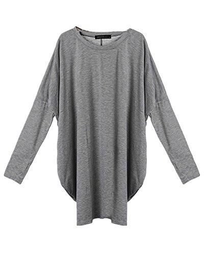 ZANZEA e Bluse Pullover Abiti Oberteil Top Donna Camicie Batwing Mini Lunga Grigio Camicetta vFrqvxS1