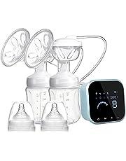 SUMGOTT Elektrische Milchpumpe, Wiederaufladbare Doppel-Stillpumpe, Elektrische Brustpumpe für Brustmilchabsaugung und Brustmassage