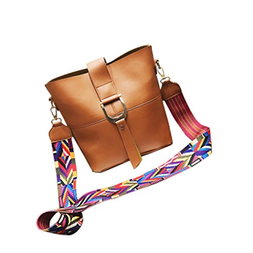 Main Esailq Sangle Bucket Mode Couleur Femmes Marron D'épaule Grand De En À Ruban Sac Bandoulière Cuir B8678dx