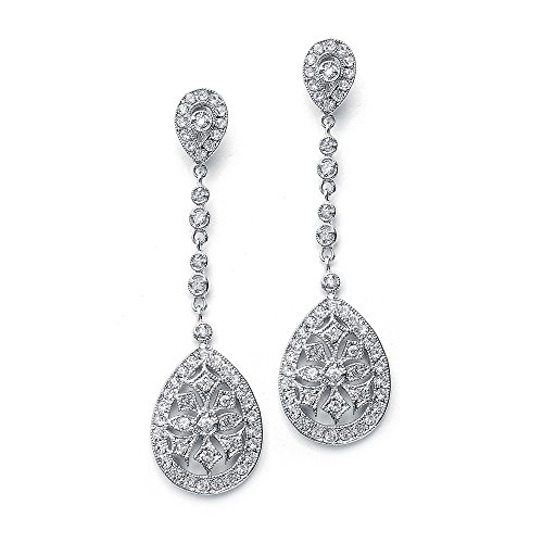 - Mariell Art Deco Vintage CZ Wedding Earrings - Glamorous Gatsby-Style Dangle Chandeliers for Brides