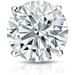 14k White Gold 4-Prong Basket Round Diamond SINGLE STUD Earring (1/8-1ct,J-K,I2-I3) screw-Back