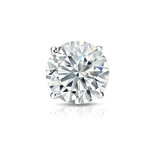 Diamond Wish 18k White Gold Single Stud Round Diamond Earring (3/8 ct, O.White, I2-I3) 4-Prong Basket set with Push-Back ()