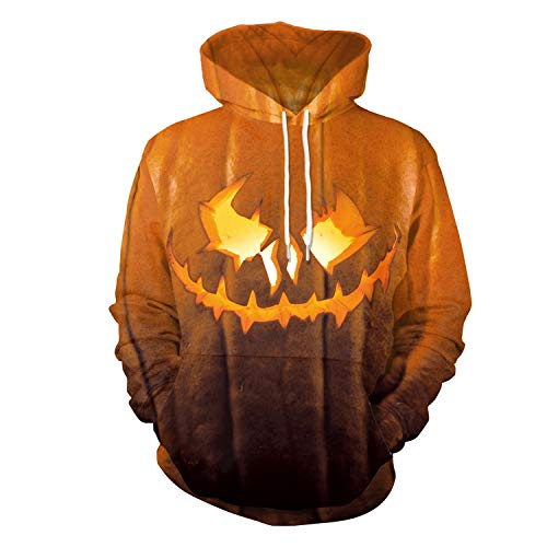 Fashspo Unisex Realistic 3D Print Casual Halloween Pullover Hooded Hoodies Sweatshirt with Pocket