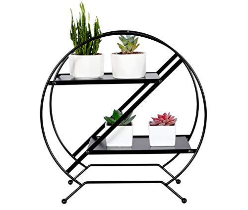 PAG 2-Tier Metal Desktop Shelf Succulents Micro Plant Pot Holder Stand Photo Display Rack for Home and Office,Black
