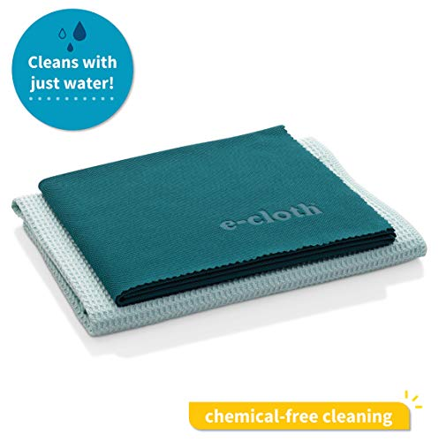 E-Cloth Window Cleaning Pack, Microfiber Glass Scrubbing Cloth & Polishing Cloth (Set of 2), Green