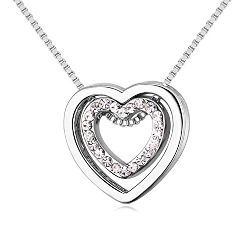 YOUNICE Double Love Heart Shape Pendant Necklace Made with Swarovski Crystal for Mother¡¯s Day Gift,White Gold