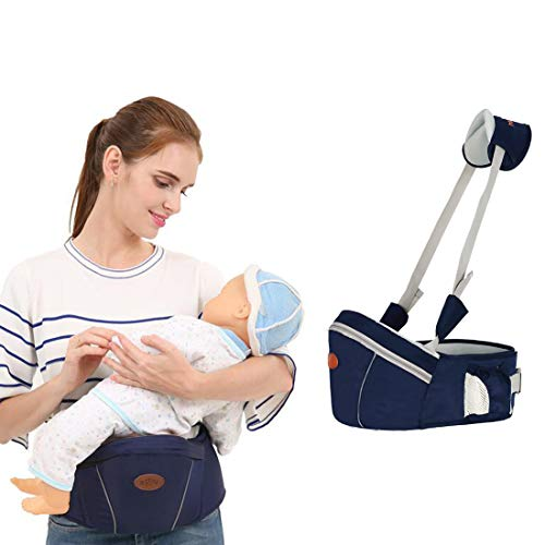 Baby Hip Seat Carrier Waist Stool - SKYROKU Baby Carrier for Child Infant Toddler with Adjustable Back Strain Relief Strap Safety Certified (Navy Blue)