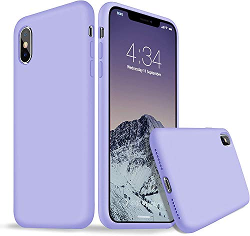 iPhone X Case, iPhone X Silicone Case, Xperg Liquid Silicone Gel Rubber Shockproof Protective Cover (Full Body with Microfiber Lining) Compatible with iPhone X/XS 5.8 inch (Light Purple)