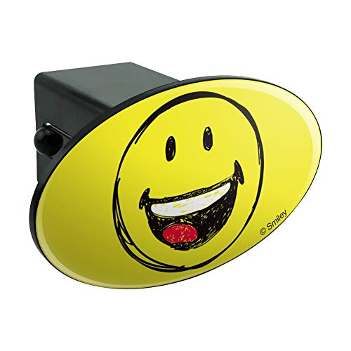 Graphics and More Smiley Smile Happy Sketchy Mouth Tongue Yellow Face Oval Tow Hitch Cover Trailer Plug Insert 2