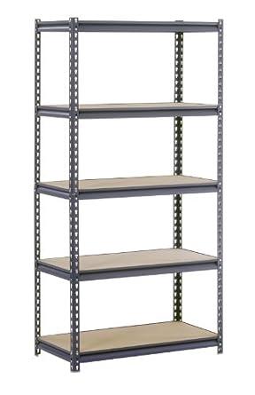 "Edsal UR2436 Industrial Gray Heavy Duty Steel Boltless Shelving Storage Rack, 1800 Capacity, 36"" Width x 72"" Height x 24"" Depth"