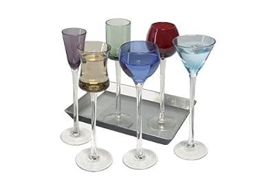 Coloured Glass, Funky 7 Piece Long Stem Liqueur Set