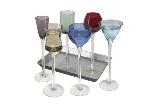 Coloured Glass, Funky 7 Piece Long Stem Liqueur Set