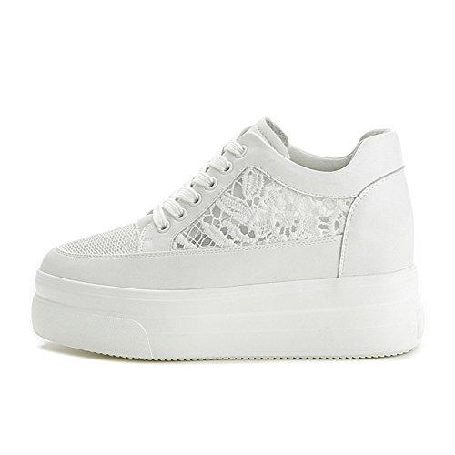 Primavera Verano Peep para Toe Zapatos cuero Zapatos de Sandalias cordones Tacones de mujer Blanco con blanco Creepers SHINIK wnxS6XYZw