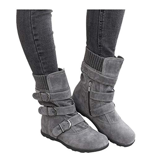 b5251bb65d9c3 Women's Winter Snow Boots Zipper Buckles Strap Warm Ankle Mid Flat ...