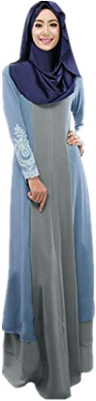 ZEELIY Damen Vintage Abaya Langes Maxikleid Arabische Jilbab