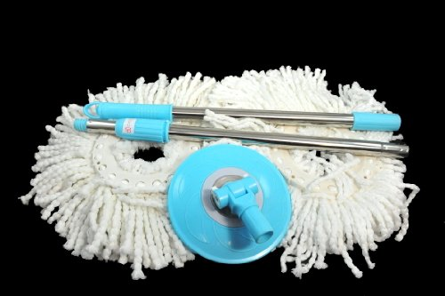 PRO 360 Rotating Spin Magic Mop - Dual Dry Drying Version Replacement Handle and 2 Mop Heads (Pro 360 Clean) (Blue, 1)