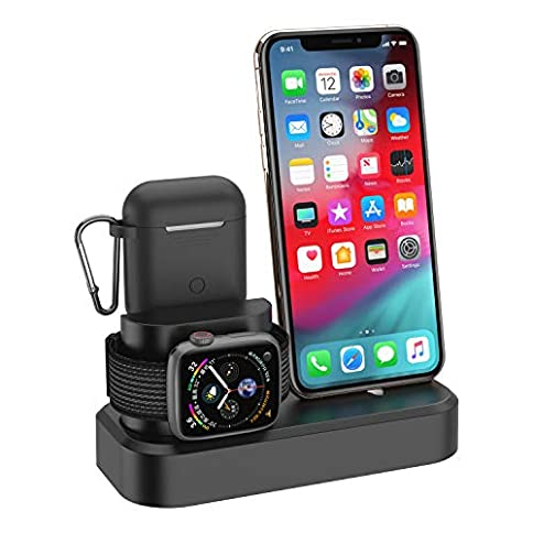 - 41dNb9ut TL - 3 in1 Charger Dock Stand Station for Apple Watch iPhone Airpods Charging Stand Station Dock for Apple Watch Series 1 2 3 4 Airpods, iPhone Xs Xs Max Xr X 8 8 Plus 7 7 Plus 6 6 Plus
