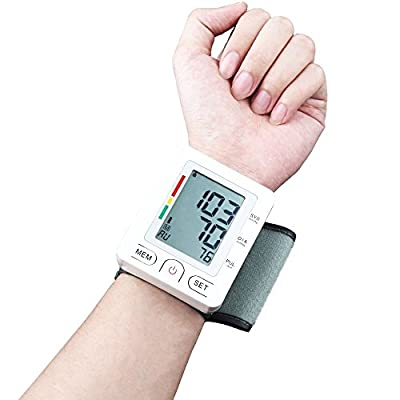 Fam-health Automatic Wrist Blood Pressure Monitor FDA Approved with Portable Case, Two User Modes, Adjustable Wrist Cuff,IHB Indicator and 90 Memory Recall --- White [2017 NEW VERSION]