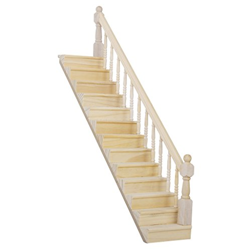Lowpricenice Pre-Assembled Wooden Staircase Stair Stringer Step with Right Handrail Dollhouse Furniture