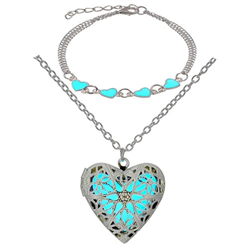 LightOnIt Steampunk Magical Fairy Glow in The Dark Heart Shape Necklace-Aqua-SIL & Bracelet Anklet Ring Set ()