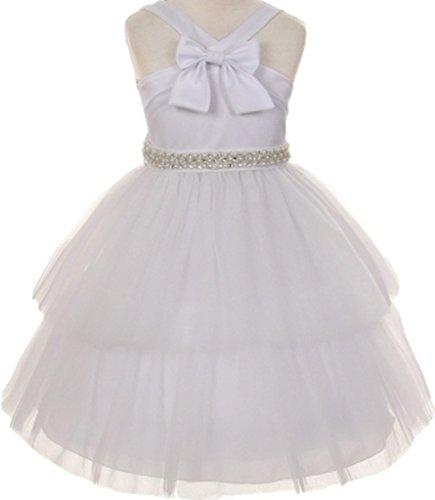 AkiDress Tulle Layered Tulle Skirt and Sain Flower Girl Dress for Little Girl White -