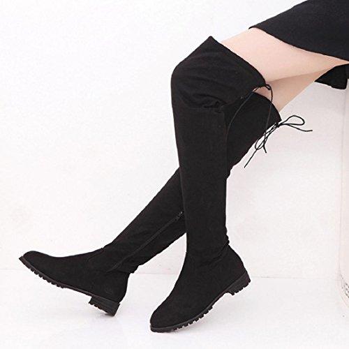 Noir Hiver talon cuissardes dessus au pointure bas du bottes Culater® Femmes plat genou élastique OTWHqRTfFc