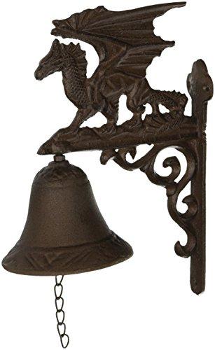 Design Toscano Gothic Dragon of Murdock Manor Dinner Door Bell, 9 Inch, Cast Iron, Faux Bronze
