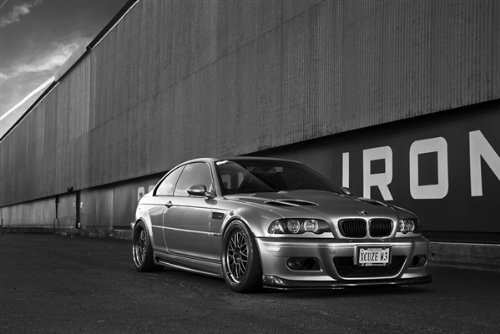 Driver Motorsports Poster of BMW M3 E46 Right Front Black and White on Work Wheels HD 36 X 24 Inch Print (Best Wheels For E46 M3)