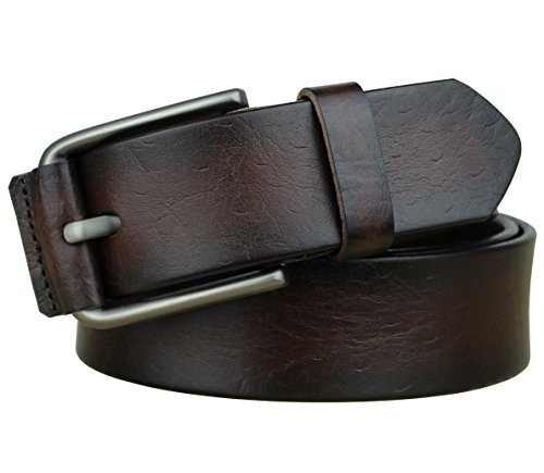 Bullko Men's Casual Genuine Leather Dress Belt Jeans 1 1/2 Dark Brown 38-40 (Denim Leather Belt)