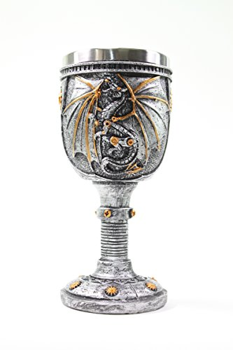 Halloween Dragon (Mythical Silver Royal Dragon Wine Goblet Skulls Steampunk Collectible Medieval Halloween Magical Party Home Decor)