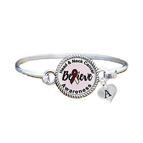 Bracelet Custom Head and Neck Cancer Awareness Believe Silver Bracelet Jewelry Initial ()