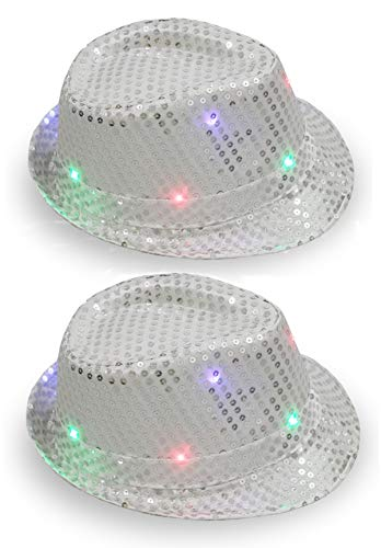 KEFAN 2 Pack LED Light Up Sequin Fedora Hat Jazz Caps Party Costume Hats (Silver and Silver)]()