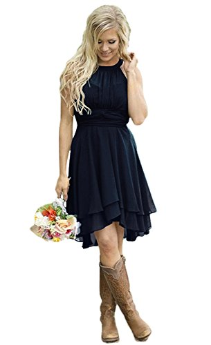 Andybridal Women's Country High Low Halter Chiffon Bridesmaid Dress Western Wedding Guest Dress Navy Blue 10