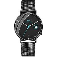 Welly Merck Men's Watch Swiss Quartz with Date Luxury Minimalist Watch Blue Hand Date Display 20mm Black Width Mesh Interchangeable Mesh Strap, 5 ATM Water Resistant